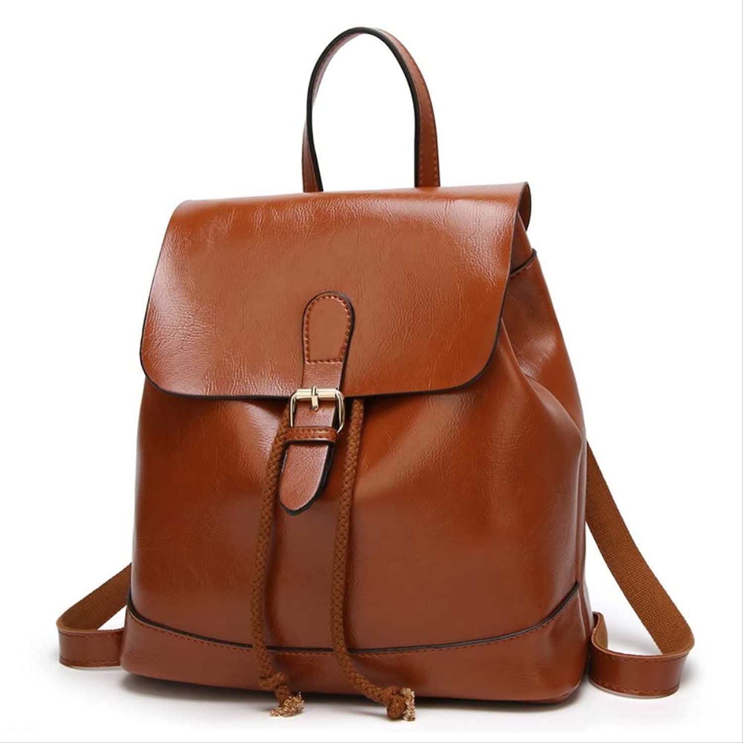 LFNYZX Retro Oil Wax Leather Backpacks for damen Bags Travel Backpack Female Solid Farbe Classic Bagpack B07PYR5H6S