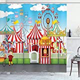 Zirkus Duschvorhang Karneval mit vielen Fahrgeschäften & Geschäften Illustration Landschaft & bewölktem Himmel Blick Druck Stoff Stoff Badezimmer 72 '