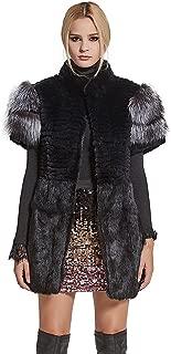 Women's Genuine Rabbit Fur Coat with Fox Fur Cuffs Warm Winter Coat