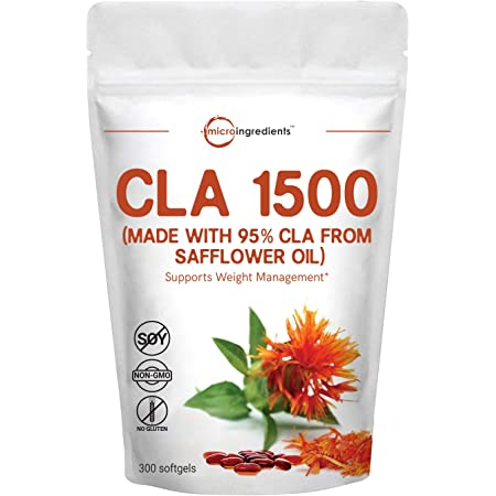 Maximum Strength CLA Supplements (CLA 1500mg Per Serving), 300 Softgels, with Conjugated Linoleic Acid, Natural Weight Loss and Fat Burn Support, No GMOs