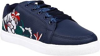 KazarMax Women Navy Flower Embroidery Sneakers Shoes