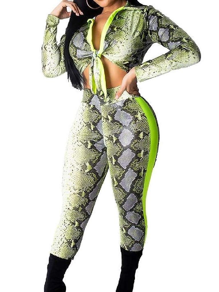 印象バナーメモBYWX 女性スネークスキンセクシーなボディーピースロングスリーブ2ピースセットトラックススーツ