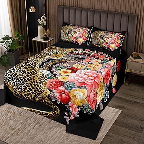 Loussiesd Leopard Tagesdecke 240x260cm Wohndecke Boho Mandala Blumen Bettüberwurf Kinder Jungen Mädchen Zweige Gepard Panther Steppdecke Romantisch Bunt Dekor mit 2 Kissenbezüge 3St