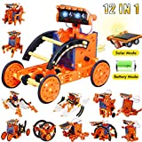 Yeelan Solar Robot Toys ,12-in-1 Educational Building Toys DIY Learning Science Experiment Kit 190 Pieces STEM Coding Robots Engineering Set Powered by The Sun for Kids Boys & Girls Gifts