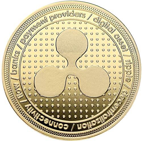 Ripple - Medaille 24-Karat Vergoldet mit Bronze Kern - Für Kryptofans als Sammelmünze in 40x2mm
