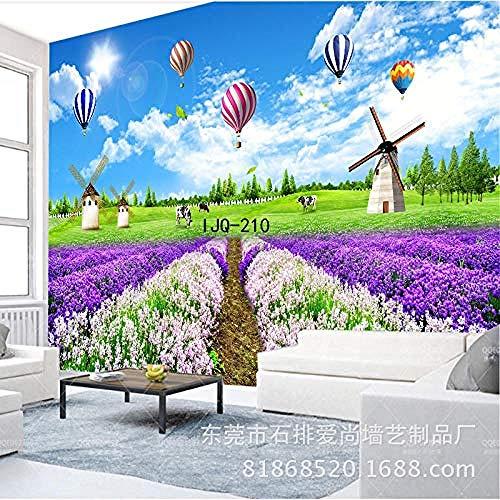 Fondo de TV lavanda pared fantasía jardín Mural personalizado revestimiento de pared púrpura arte papel t Pared Pintado Papel tapiz Decoración dormitorio Fotomural sala sofá mural-430cm×300cm