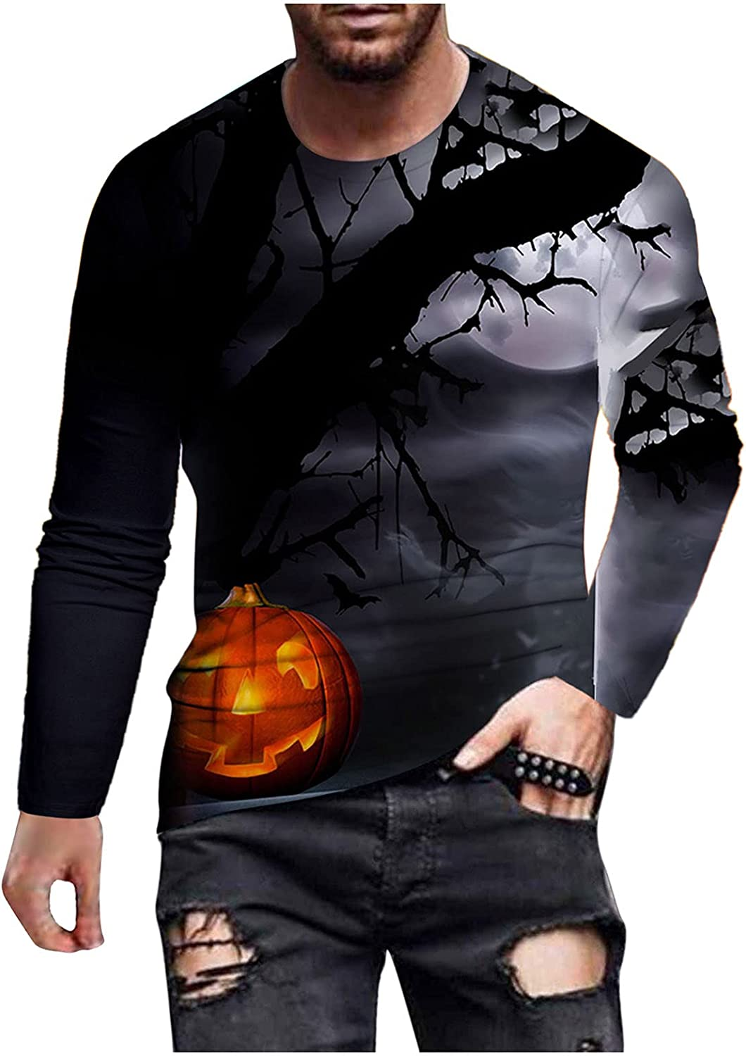xoxing Halloween Shirts for Men Casual Autumn Crew Neck Long Sleeve Tops Funny 3D Digital Printed Loose Blouse Pullover