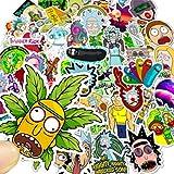 Tinyuet Pack de Pegatinas, 50 Calcomanías de Vinilo Impermeables, Ideal para Niños/Jóvenes para Teléfono Móvil, Ordenador Portátil, Cafetera, Maletas de Viaje - Morty