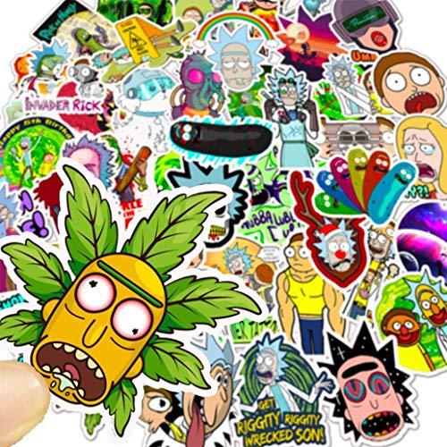 Tinyuet Aufkleber Pack, 50 Stück Wasserdicht-PVC Aufkleber für Kühlschrank, Aufkleber für Auto, Geschenke, Telefon, Geschenke für Kinder – Morty