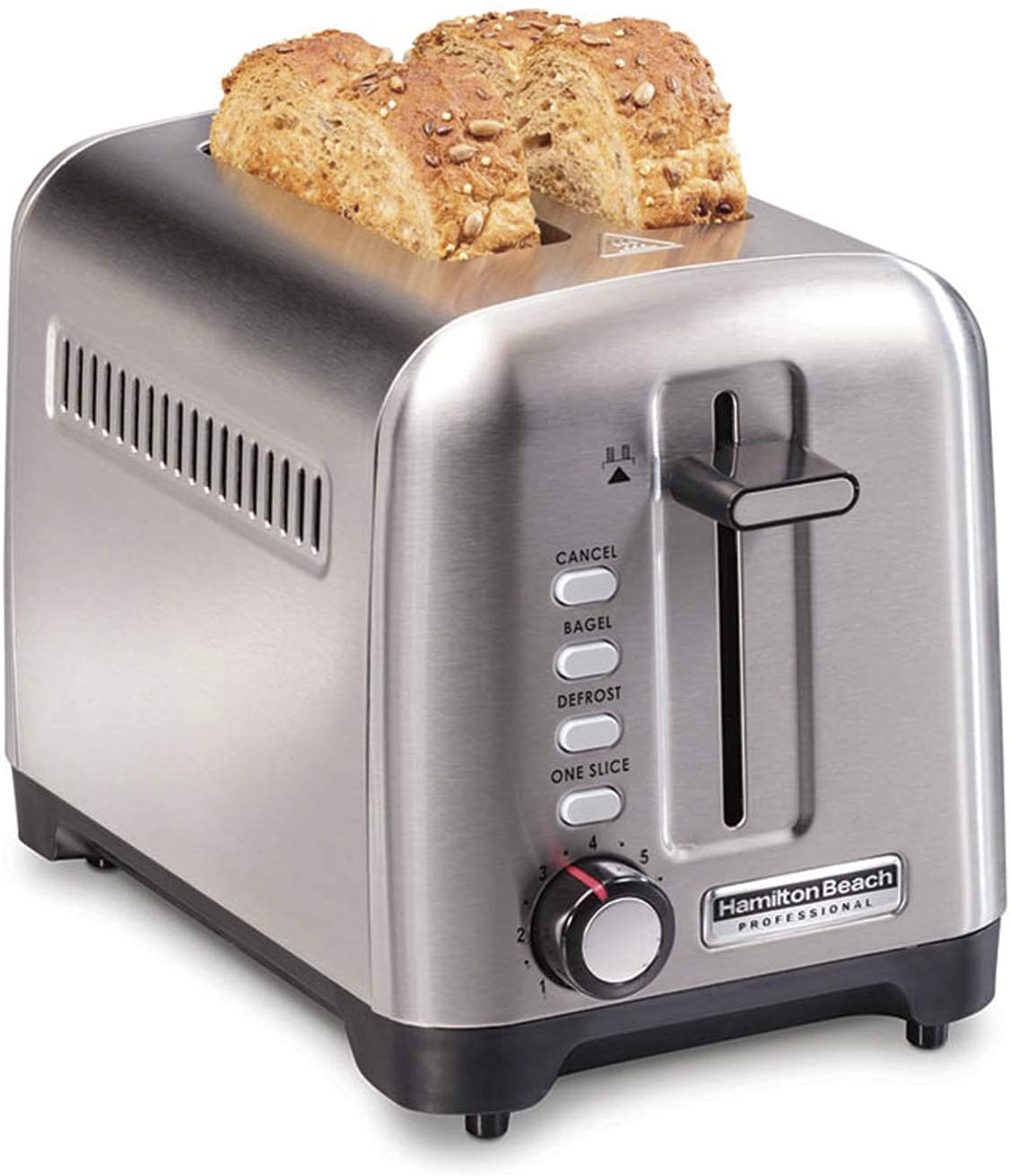 Hamilton Beach Professional 22991 Toaster with Deep & Wide Slots for Artisan Bread & Bagel and Sure-Toast Technology, Auto Shutoff, 2-Slice, Stainless Steel