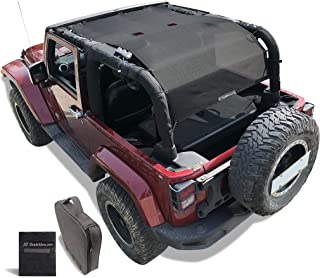 Shadeidea Jeep Wrangler Sunshade JK 2 Door Sun Shade 2007-2018 Top Front+Rear+Trunk-Black Mesh Screen Cover UV Blocker with Grab Bag Storage Pouch-10 Years Warranty