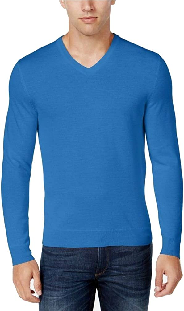 Style & Co. Club Room Men's 100% Cotton Knit V Neck Pullover Sweater Palace Blue (XXL)