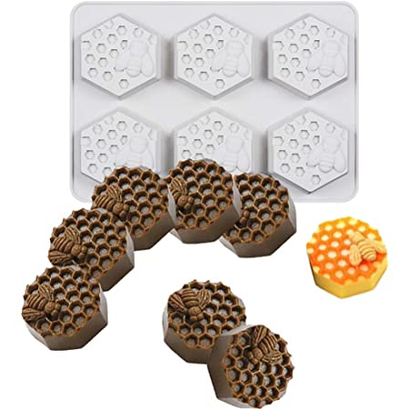 UG LAND INDIA 6 Cavity Bee Honeycomb Soap Molds, Honeycomb Cake Molds, Dessert Pan Candy Baking Handmade Chocolate Molds, Biscuit Muffine Baking Molds, Ice Cube Tray