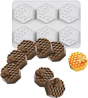 UG LAND INDIA 6 Cavity Bee Honeycomb Soap Molds, Honeycomb Cake Molds, Dessert Pan Candy Baking Handmade Chocolate Molds, ...