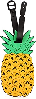 Cute Travel Bag Luggage Name Tag ID Labels - Suitcase Identification Label Holder, Food (Pineapple)