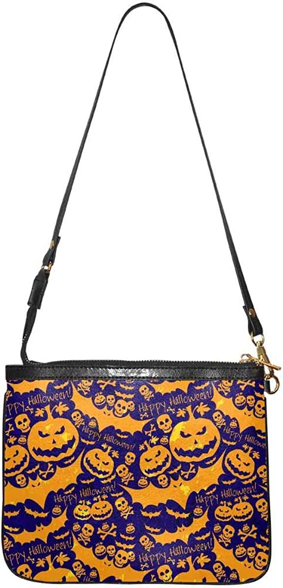 InterestPrint Small Shoulder Purse Lightweight PU Leather Wallet with Strap for Women Halloween Ghosts and Pumpkins