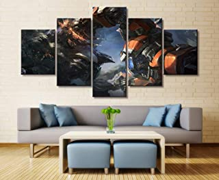 HOPE003 Canvas Painting 5 Piece Wall Art Mural 5 Panel Malphite VS Sion Canvas Printed Painting for Living Wall Art Home Decor HD Picture Artworks Poster Framed