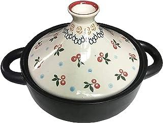 حلة تاجين 20 سم، أواني طاجن يدوية الصنع منزلية سيراميك للطهي البطيء أواني طاجن دافئ عصري 1.5 لتر