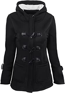 KINDOYO Women Winter Long-Sleeved Horns Buckle Thick Hooded Zip Duffle Coat Parka Jacket Outwear with Pocket