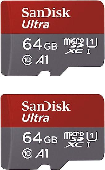 SanDisk Ultra de 64/GB microSDHC UHS-I Tarjeta con Adaptador Paquete de Dos Unidades