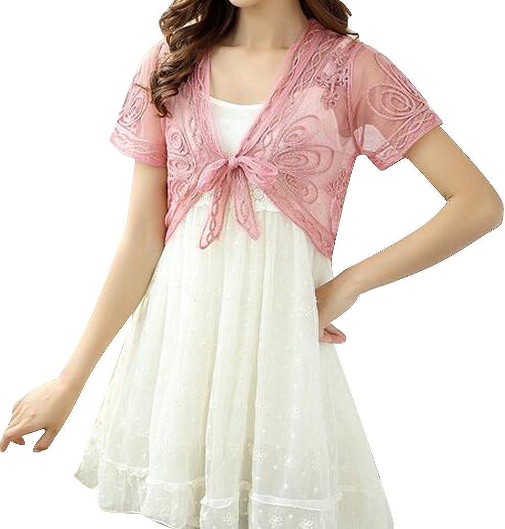 Women Short Lace Cardigan Bolero Shrug Jacket Mesh Beach Shawl