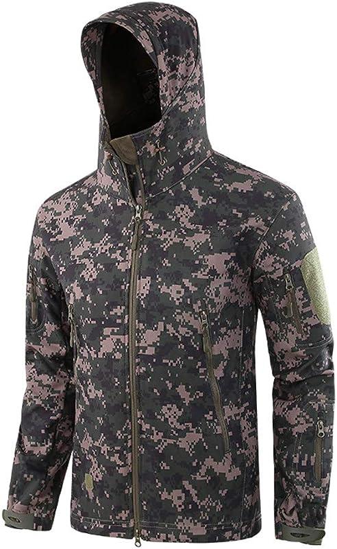 Dacawin Men S Windproof Warm Outdoor Camouflage Coat Hooded Jacket Sports Uniform Velvet Overalls