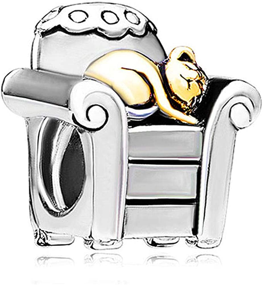 ShinyJewelry Cat in Chair Charm Beads for Charms Bracelet