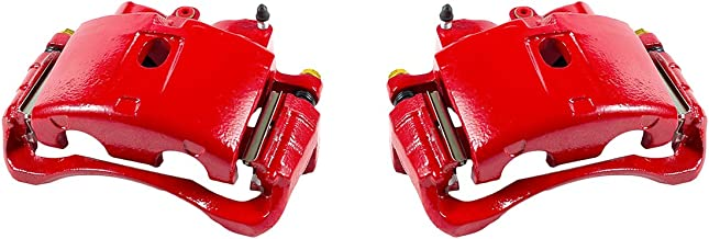 CCK12317 [2] FRONT Performance Grade Red Powder Coated Semi-Loaded Caliper Assembly Pair Set