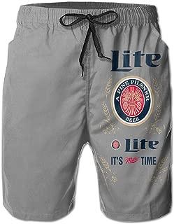 Miller Lite Men's Swim Trunks Quick Dry Beachwear Elastic Waist Swimwear Beachwear Running Board Shorts