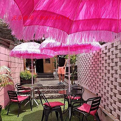 YRRA Jardín Terraza Rosa Paja Paja Paraguas Tropical Hawaii Piscina Paja Umbrella sin Fondo 1.6m (63 Pulgadas)-Rojo