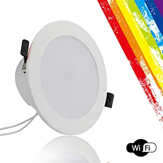 rwu0 Ceiling LED Smart Downlighter,4 Inch LED Color Change RGB Smart Downlight,Timer Switch Light,Can Connect Alexa and Google Home Voice Control,1/2 PC