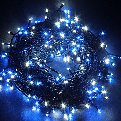 LightsGo 300LED 30M Safe Voltage Fully Weatherproof Christmas Fairy Lights Alternate Blue and White, Memory, 8H Timer,10M Lead