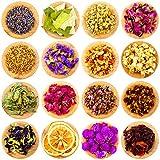 16 Bolsas de Flores y Hierbas Secas Múltiples Naturales Aromas de Capullos de Rosa Lavanda Jazmín Crisantemos para DIY Velas Jabón Resina Joyería Uñas Manualidades