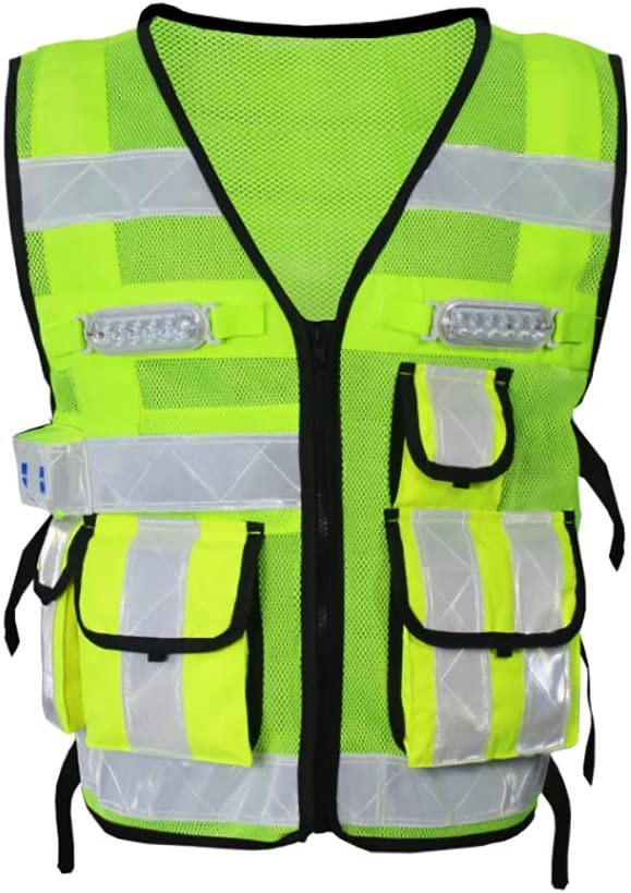 YIWMHE LED Stripe Free shipping / New Reflective Vest Safety Road Warning Male Suit Max 61% OFF
