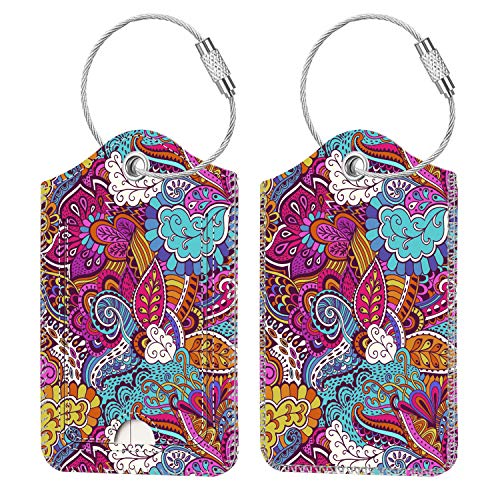 2 Pcs Luggage Tags, Fintie Privacy Cover ID Label with Stainless Steel Loop and Address Card for Travel Bag Suitcase (Vector Purple)