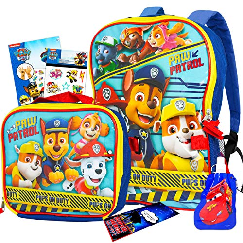 Paw Patrol Backpack and Lunch Box Bundle Set ~ 6 Pc Premium 16' Paw Patrol Backpack, Lunch Bag, Water Bottle, Stickers, Tattoos, and More (Paw Patrol School Supplies)