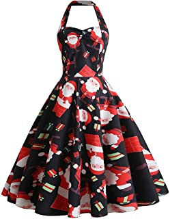 Funnygals - Christmas Dresses for Women,Plus Size Prom Party Flapper Bridesmaid Cocktail Skater T-Shirt Swing Dress Size