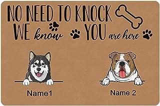 Custom Mat, Personalized Dog Name Printed Doormat No Need to Knock Dog Door Mat Rug Welcome Indoor Outdoor Decor Entrance ...