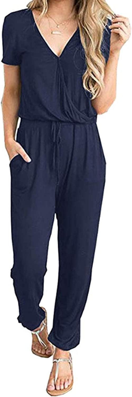 PRETTYGARDEN Women's Summer Casual Deep V Neck Short Sleeve Wrap Drawstring Waist Jumpsuit Romper