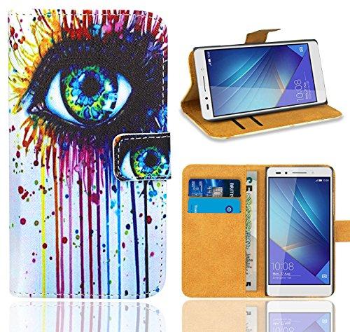 Huawei Honor 7 Handy Tasche, FoneExpert® Wallet Hülle Flip Cover Hüllen Etui Ledertasche Lederhülle Premium Schutzhülle für Huawei Honor 7 (Pattern 10)