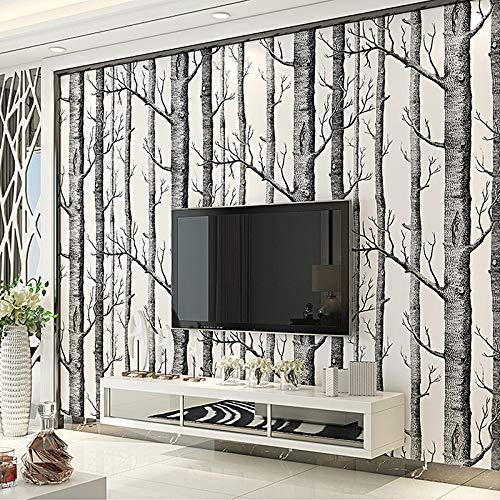 Papel Pintado Abedul, Papel Pared Madera, Vinilo Adhesivo, Papel tapiz 3D Papel adhesivo para muebles Pared de fondo decorar...