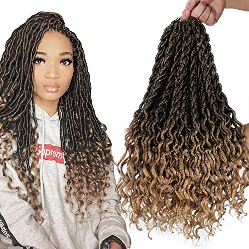 6Packs/Lot Wavy Faux Locs Braids 20Inch Ombre Faux Locs Crochet Hair with Curly Ends Goddess Crochet Synthetic Braiding Extensions Mixed Color(T1B-27#)