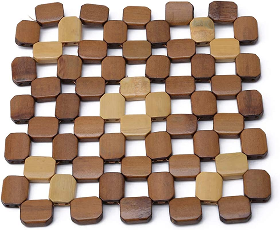 Iumer Bamboo Placemat Home Kitchen Square Anti Slip Heat Resistant Coaster Wooden Mat Large