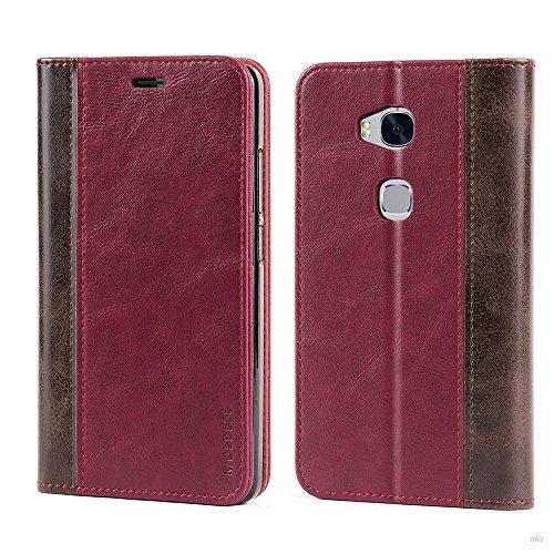 Mulbess Handyhülle für Huawei Honor 5X Hülle Leder, Wallet Case Leder Flip Schutzhülle für Huawei Honor 5X Tasche Bookcase, Wein Rot