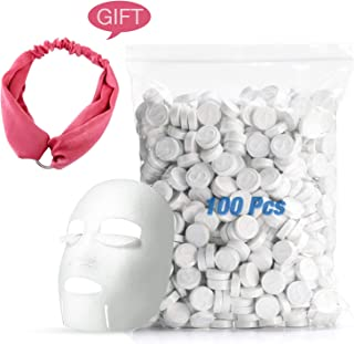 DIY Facial Mask Skin Face Care Mini Dry Compressed Masque Cotton Mask 100pcs with Headband