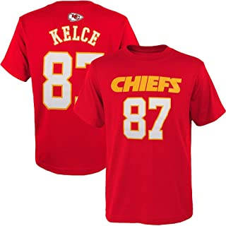 Outerstuff Travis Kelce Kansas City Chiefs NFL Youth 8-20 Red Mainliner Player Name & Number T-Shirt