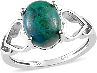 Solitaire Ring 925 Sterling Silver Platinum Plated Oval Chrysocolla Jewelry for Women Size 9