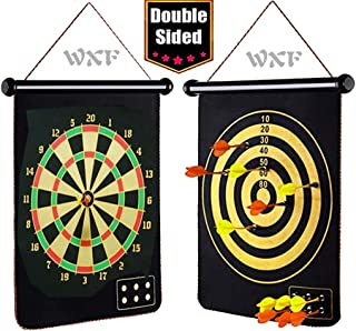 """WXF 17"""" Magnetic Dart Board for Kids, Indoor Outdoor Dart Games for Kids with 12 integrated magnetic dart. Safety Double Sided Hanging Dart Board Target Game Toys Teenage Toy Gift for 4-12 Years Old"""