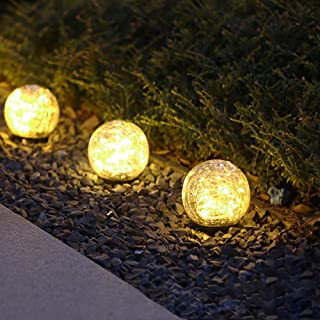 Garden Solar Lights, Cracked Glass Ball Waterproof Warm White LED for Outdoor Decor Decorations Pathway Patio Yard Lawn, 1...