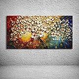 Pittura Ad Olio Su Tela Dipinto A Mano Con Coltello Palette,Quadri Astratti Con Texture Di Paesaggio,Albero Di Fiori Rosa Chiaro,Decorazione Murale Europea Moderna Di Grandi Dimensioni Per Soggi